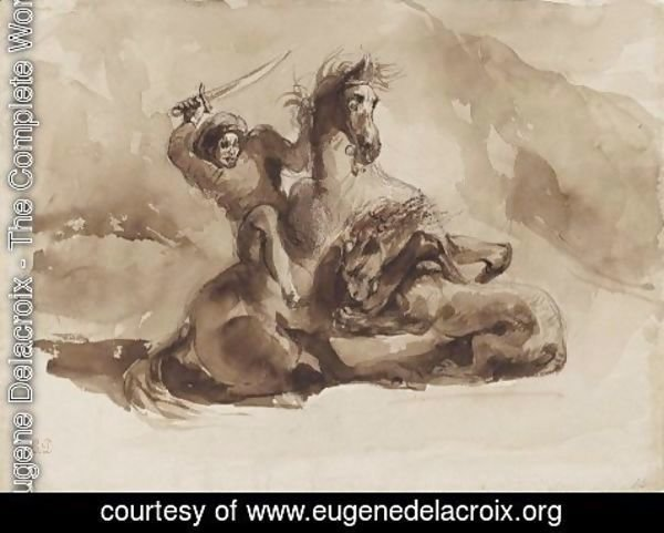 Eugene Delacroix - Horse and Rider Attacked by a Lion