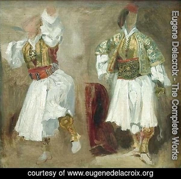 Eugene Delacroix - Two Views of costumes Souliotes