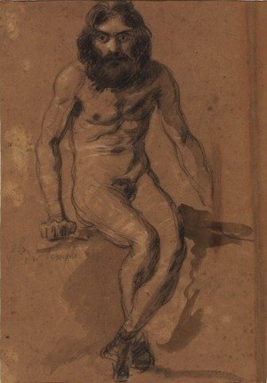 Eugene Delacroix - Nude bearded man, seated