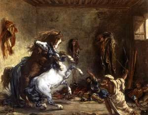Eugene Delacroix - Arab Horses Fighting in a Stable 1860