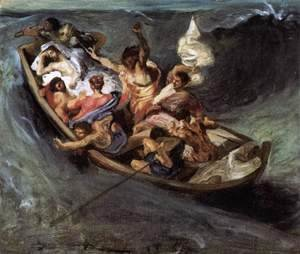 Eugene Delacroix - Christ on the Lake of Gennezaret (sketch) c. 1841