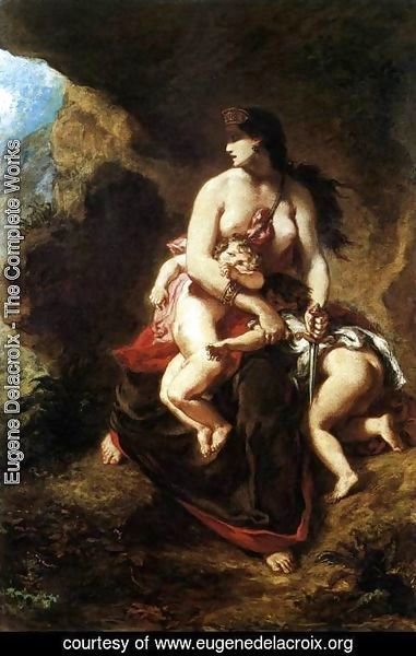 Eugene Delacroix - Medea about to Kill her Children 1838