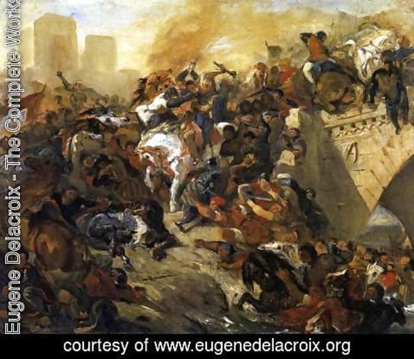 Eugene Delacroix - The Battle of Taillebourg (draft) 1834-35