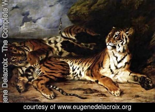 Eugene Delacroix - A Young Tiger Playing with its Mother 1830
