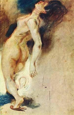 Eugene Delacroix - Female Nude Killed From Behind