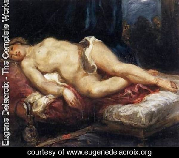 Eugene Delacroix - Odalisque Reclining on a Divan 1827-28