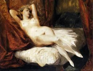 Eugene Delacroix - Female Nude Reclining on a Divan 1825-26