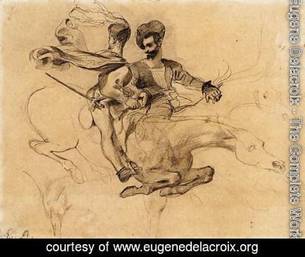 Eugene Delacroix - Illustration for Goethe's Faust 1825-27