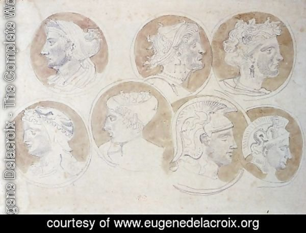 Eugene Delacroix - Studies Of Antique Medallions