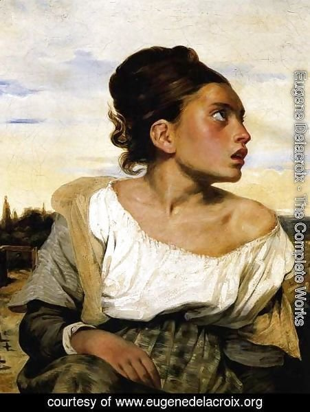 Eugene Delacroix - Girl Seated in a Cemetery 1824