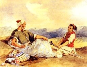 Eugene Delacroix - Two Moroccans Seated In The Countryside