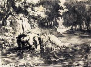Eugene Delacroix - The Death of Ophelia 1843