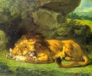 Eugene Delacroix - Lion with a Rabbit